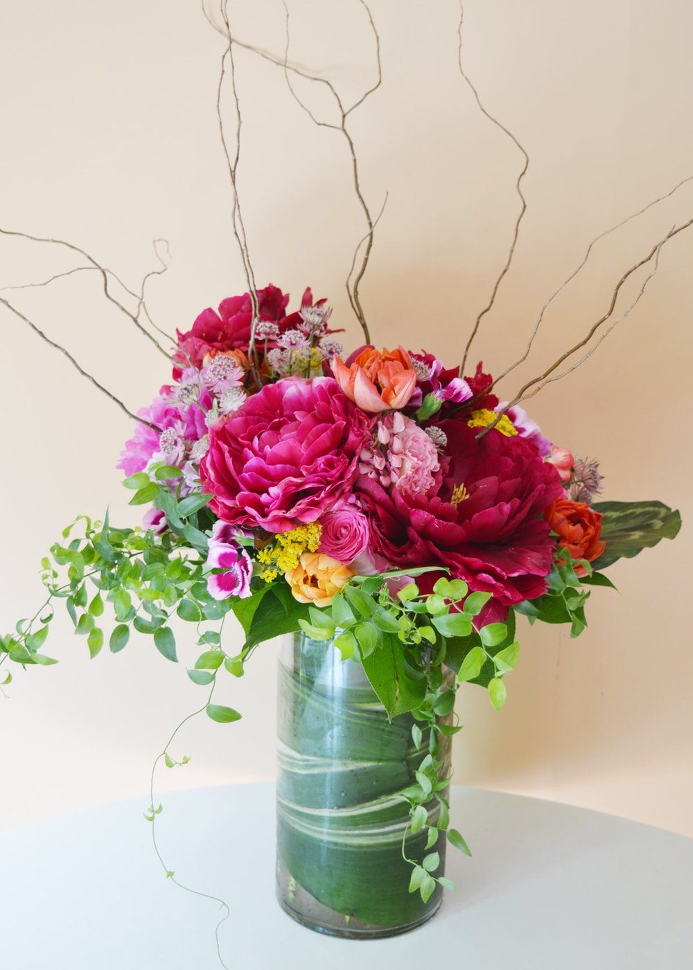 Flower Arrangement 1 Dark Pink Fuschia Peonies Bar Arrangement
