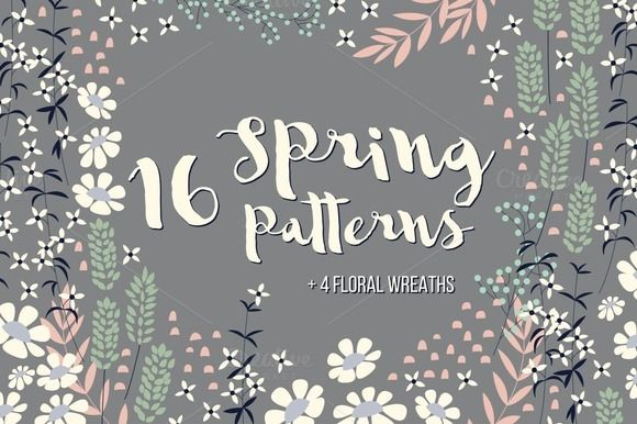 16 Spring Patterns + 4 Wreaths by Blue Lela Illustrations on Creative Market