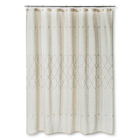 Target P Shower Curtain Tan Embroidered Threshold