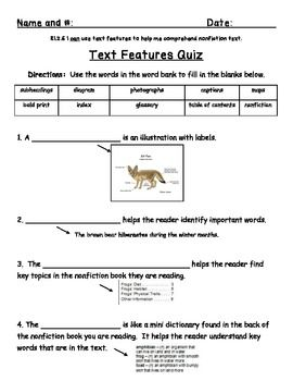 I hope you find this Text Features Quiz freebie useful! ~Common Core Aligned to RI.2.5 and RI.3.5  I appreciate your feedback :)
