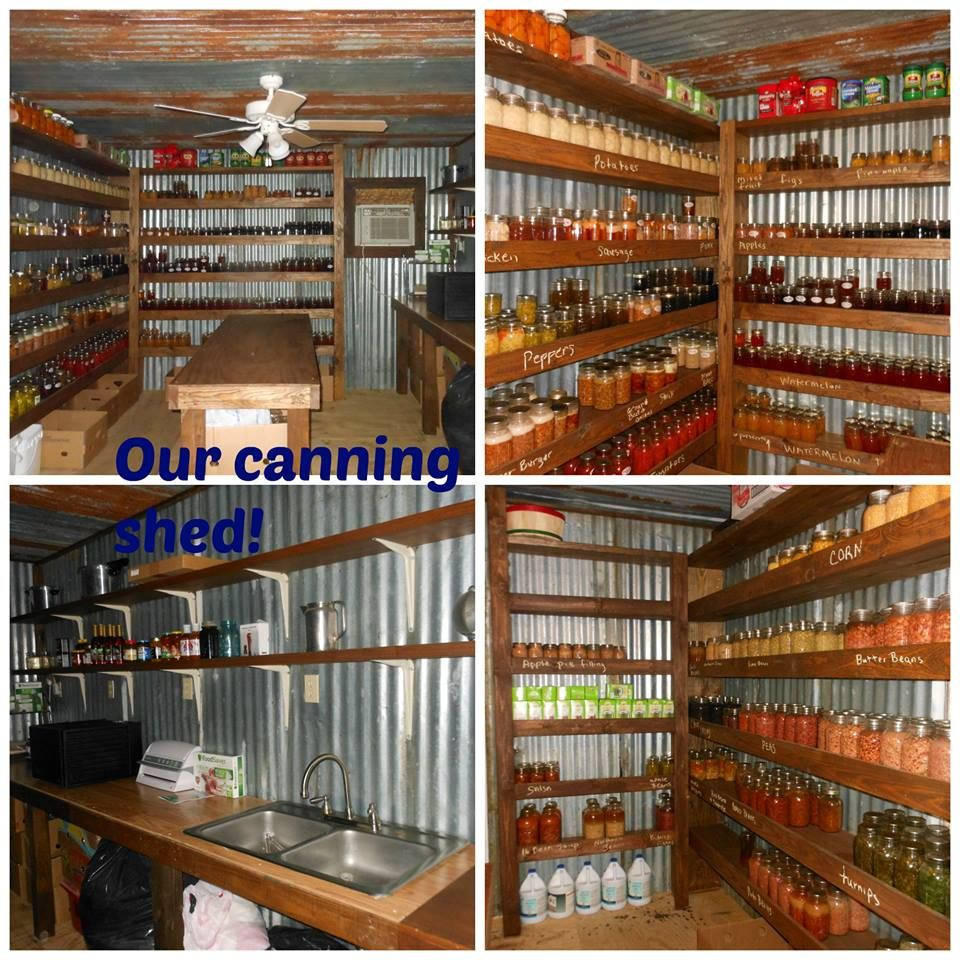 Love this...Canning Shed... Here is a photo of someone who has canning together... I have to admit I just love organized pantries and shelves... I store rice and all items along those items that in clear sealed containers... it just looks much neater, easier to find what you need, you can see if you are low on something and keeps it fresher...