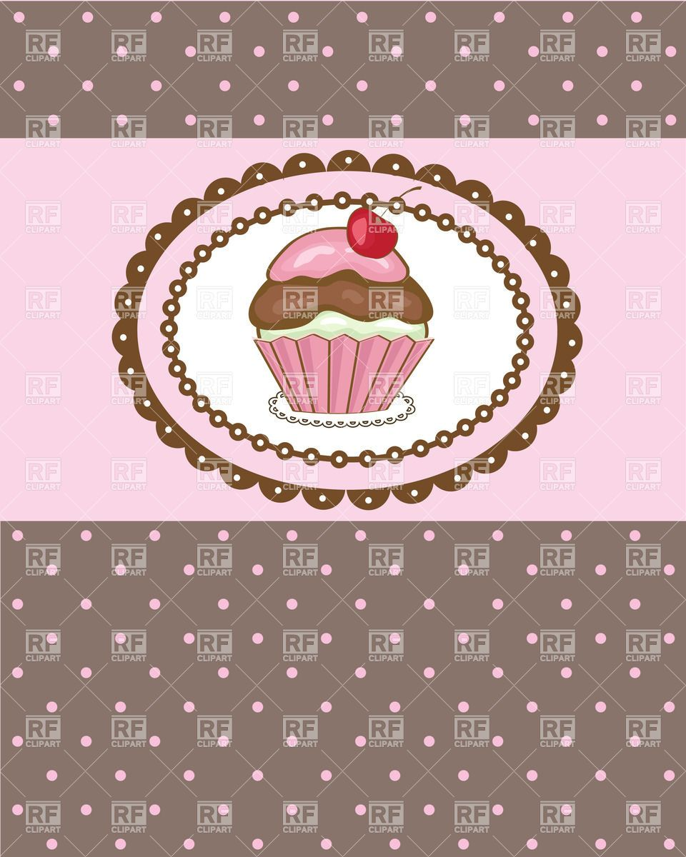 Pink cupcake with cherry on the top over brown polka dot