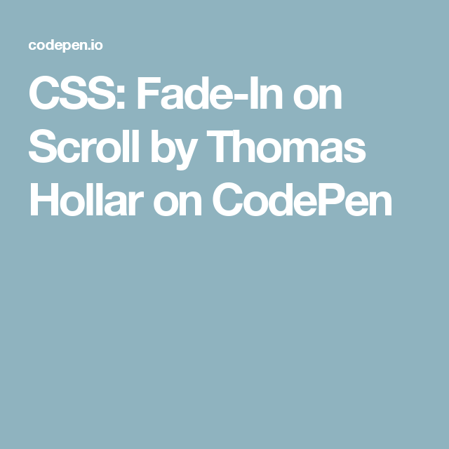 CSS: Fade-In on Scroll | Code | Coding
