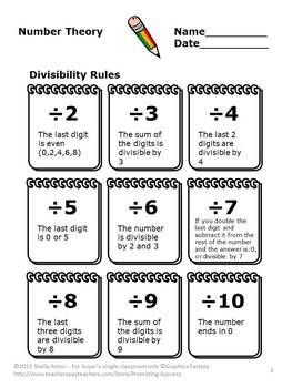 Divisibility Rules Activities Th Grade Math Worksheets