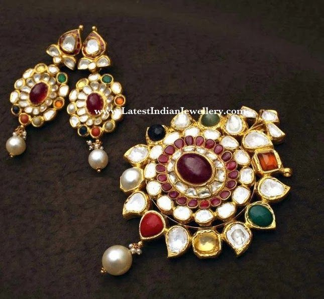 Indian Gold Jewellery Necklace Sets Google Search: Navaratna Stone Jewellery - Google Search