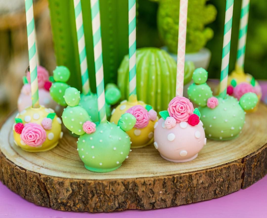 The Sweetest Cakepops In Soft Pastels Fiesta Birthday Party Cactus Cake Fiesta Cake
