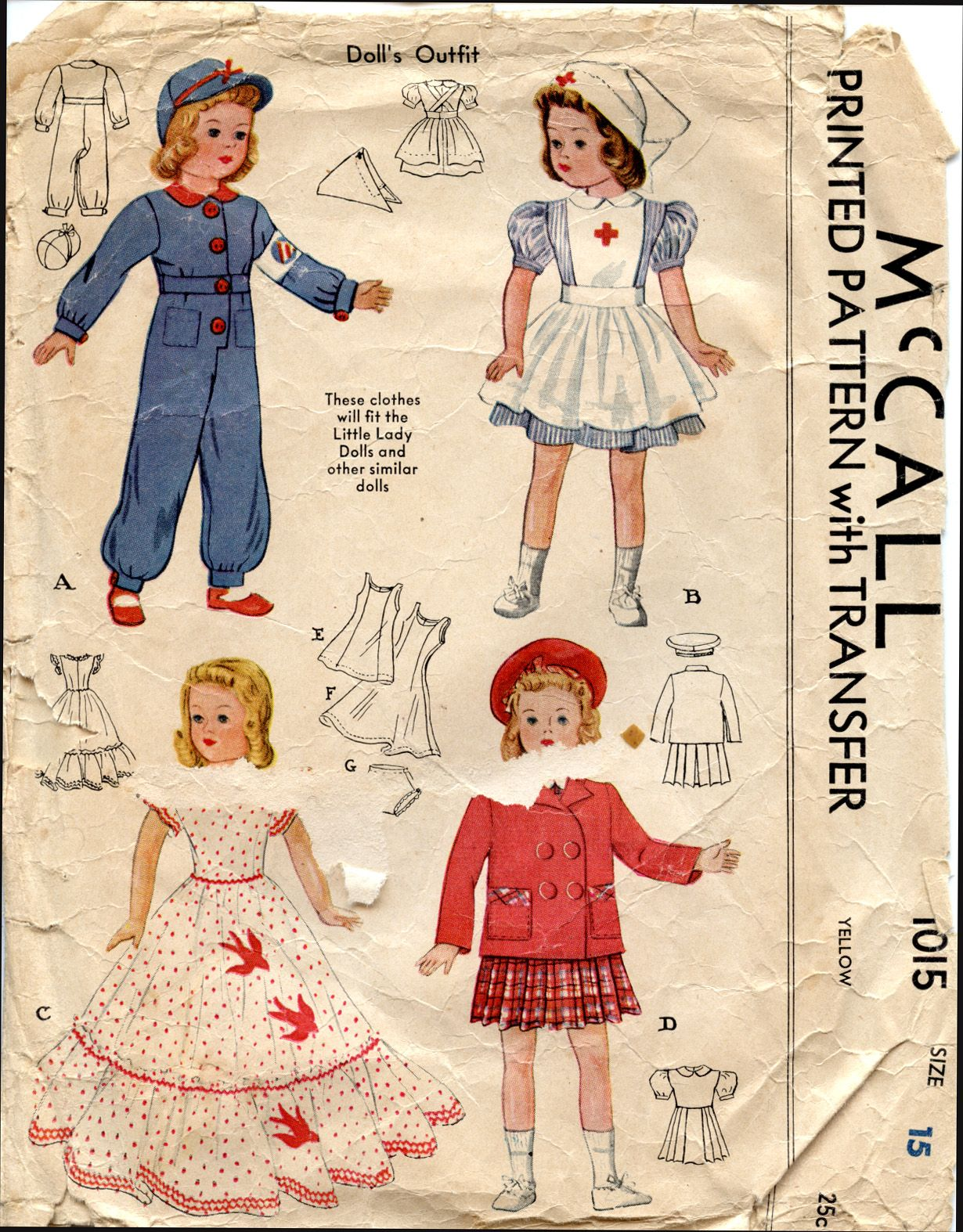 48ee3fe9790e8 McCall 1015 - Clothes to Fit the Little Lady Doll ~ A Red Cross nurse's  ensemble & ladies overalls with Air Raid Warden emblem to embroider!