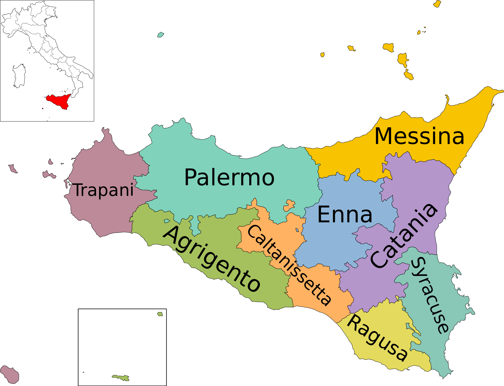 Cartina Sicilia Trapani.File Map Of Region Of Sicily Italy With Provinces En Svg