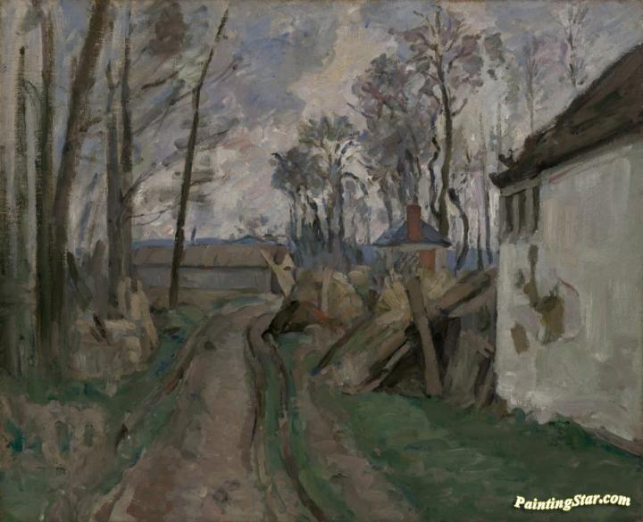 A village road near auvers artwork by paul cezanne hand