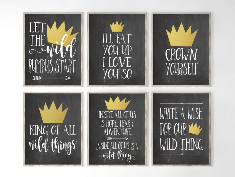 Let The Wild Rumpus Start I Ll Eat You Up I Love You So King Of All Wild Things Inside All Of Us Printable Signs Bee Baby Shower Decoration Wall Art