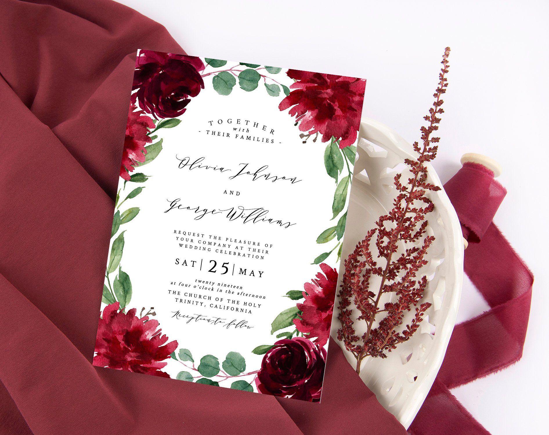 Burgundy wedding invitations suite, wedding invitation