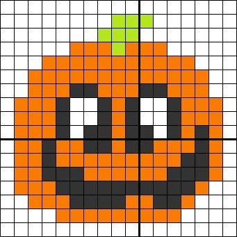 Zucca Di Halloween Pyssla.Pixel Hama Beads Pyssla Puntocroce Crossstitch Pumpkin