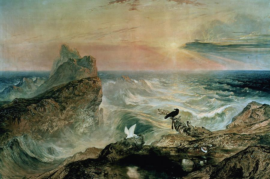 Assuaging Of The Waters By John Martin (1789-1854) Painting - Assuaging Of The Waters by John Martin