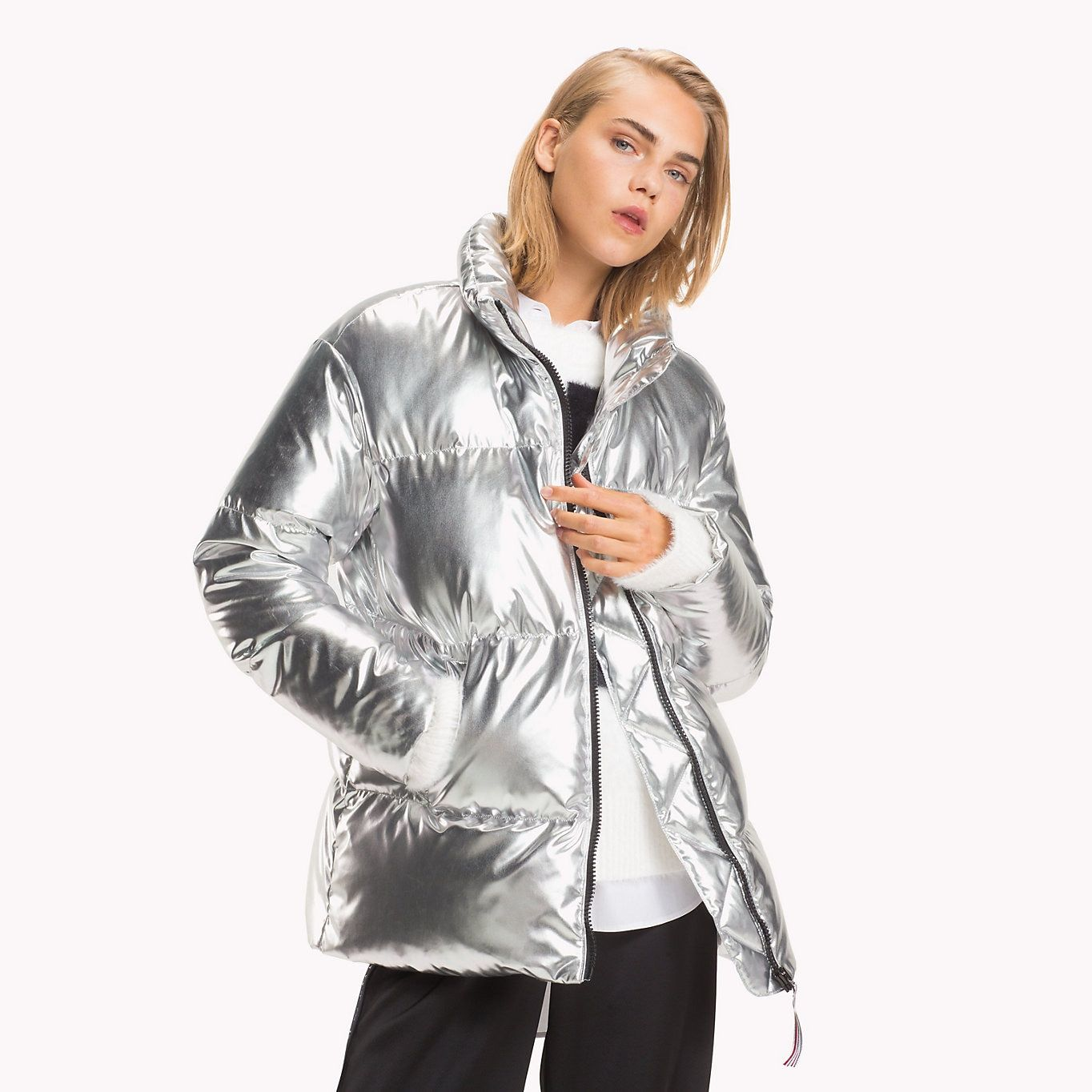 09ea3591b8e5c8 TOMMY HILFIGER Tommy Icons Puffer Jacket - SILVER - TOMMY HILFIGER Women -  main image