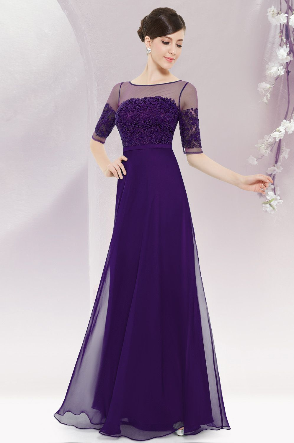 Long sleeve illusion neckline evening dress more maxi for Purple maxi dresses for weddings