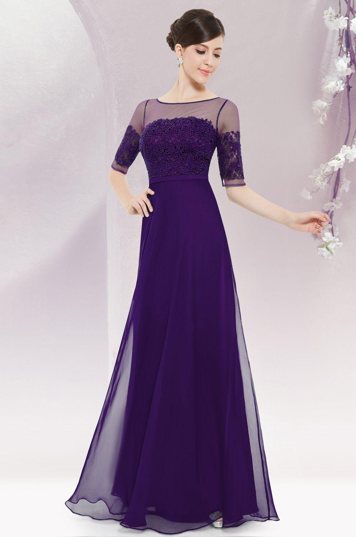 Long Sleeve Illusion Neckline Evening Dress | Vestiditos, Vestidos ...