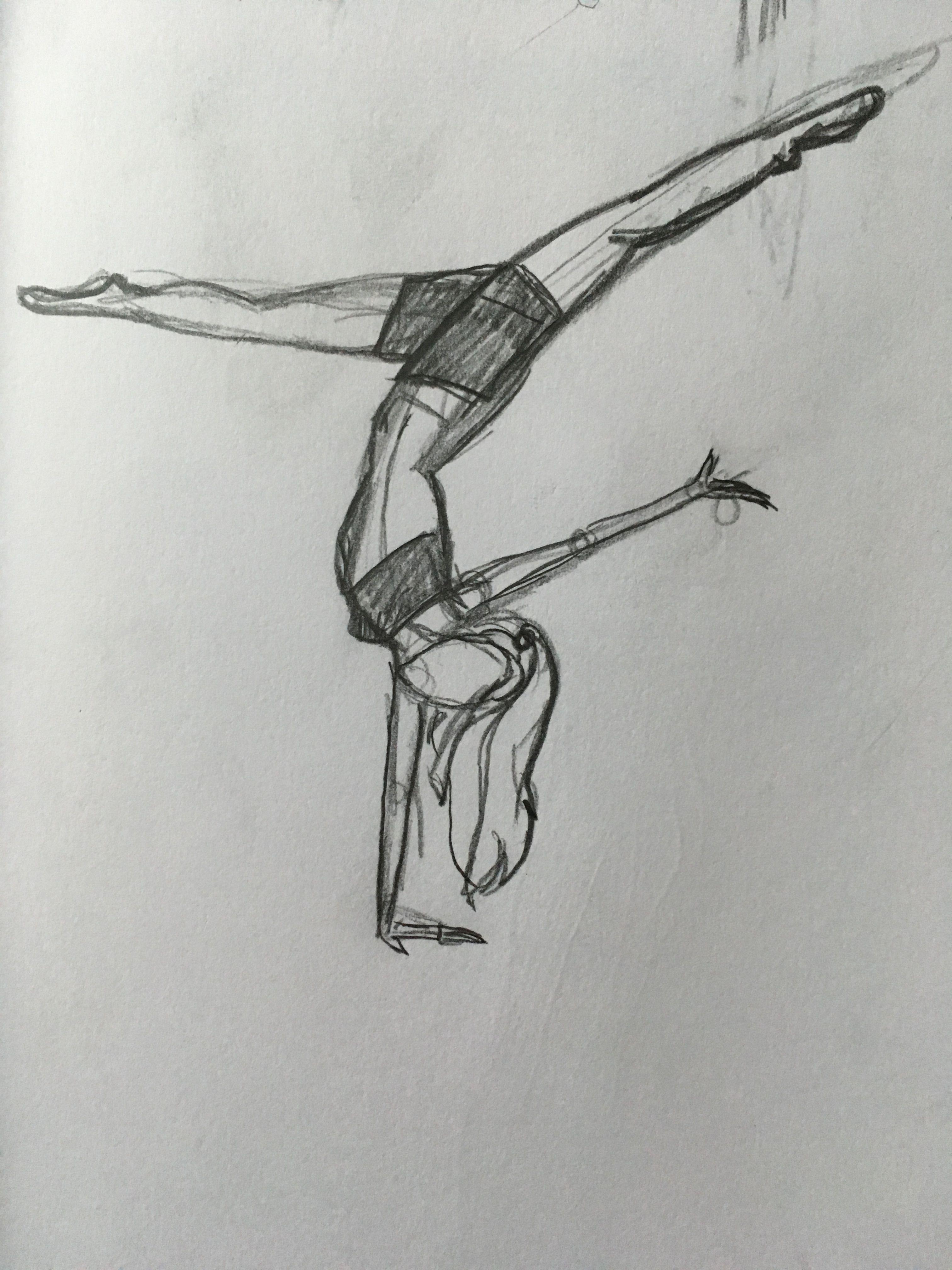 Gymnast Drawing Girl Original Drawing Girl Drawing