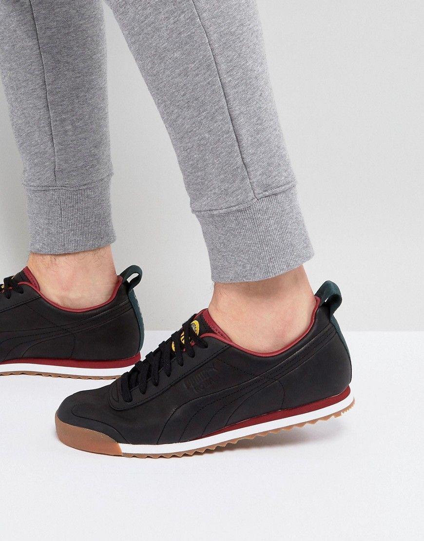 a0e402ac2d701b PUMA X DAILY PAPER ROMA LEATHER SNEAKERS BLACK 36455202 - BLACK.  puma   shoes