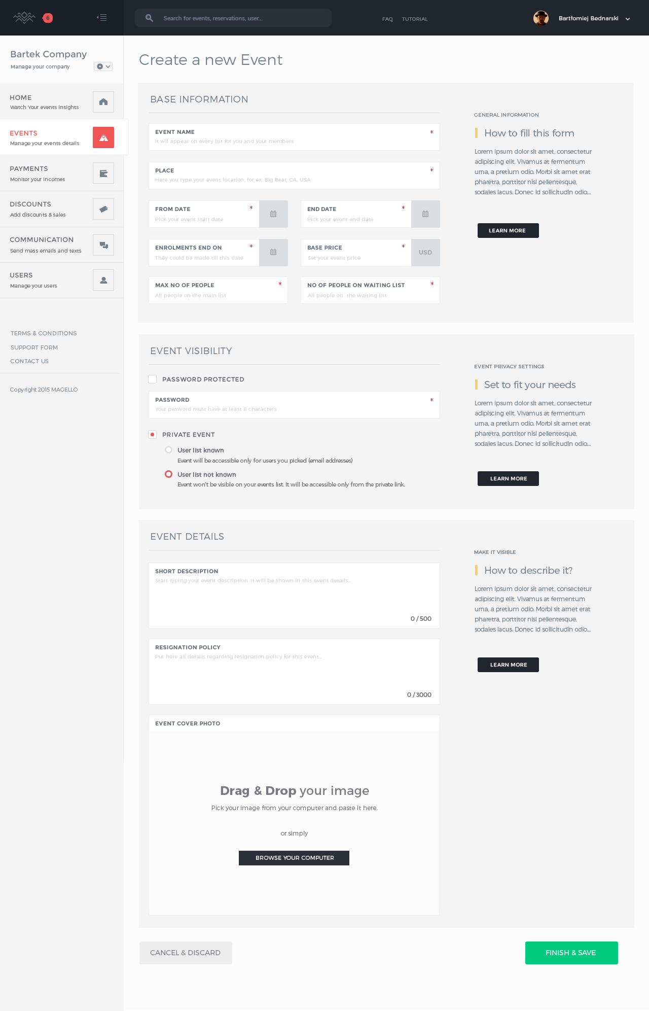 We can use the inline instructions greyed out to hint or remind the users what that line will be used for ( or even for who to see)  Good example of  - required field using a small asterik  - great use of space: clean form sizes stacked  around each other