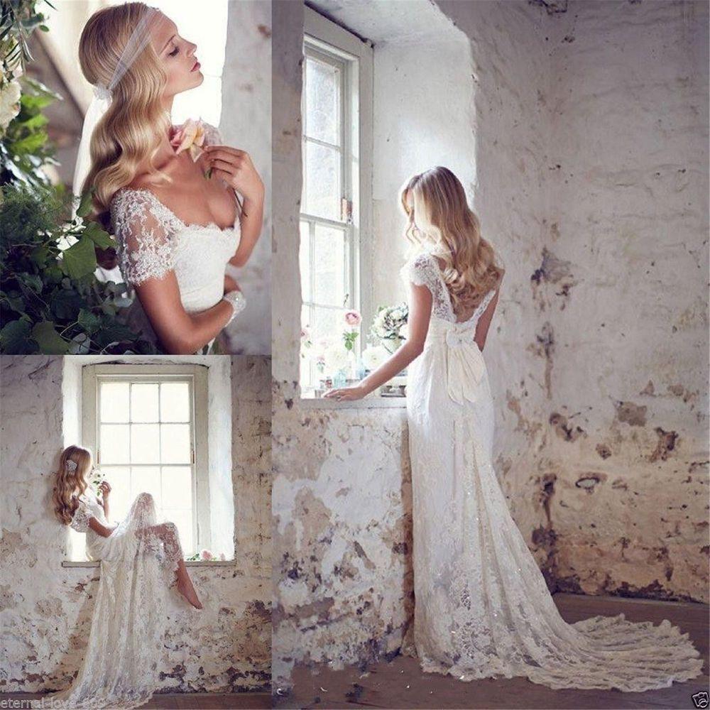 Neu Weiß/Elfenbein Spitze Brautjungfer Hochzeitskleid Brautkleider