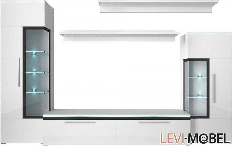 Ebay Angebot WOHNWAND 5-TLG WOHNZIMMER ANBAUWAND LOWBOARD VITRINE - wohnzimmer vitrine weis hochglanz