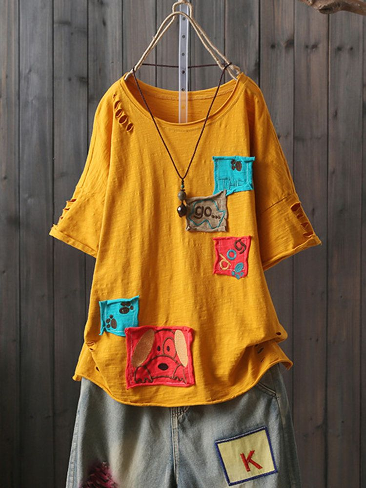 c22b8fa64 Cartoon Patch Short Sleeve Crew Neck Casual T-Shirt | Products in ...