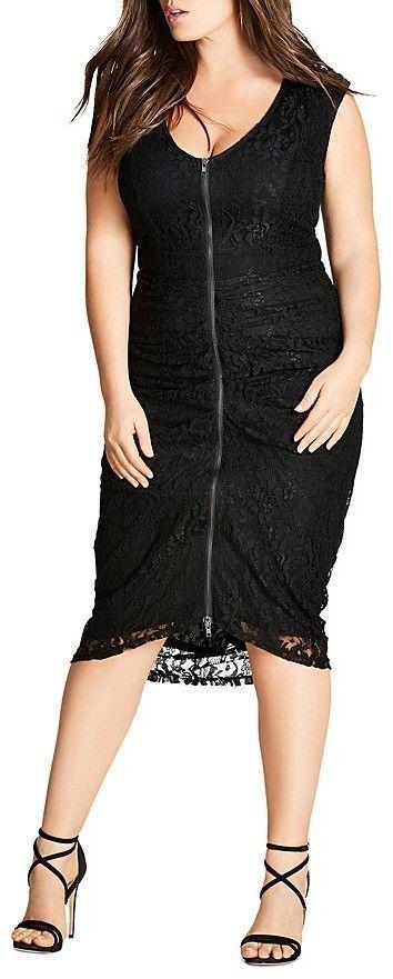 Plus Size Zip-Front Lace Dress | Midi dress plus size