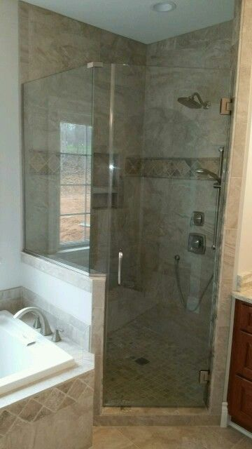 Shower #asheville #wnc #bathroom #remodel #glass #shower #framelessshowers #custom #brittandtilson