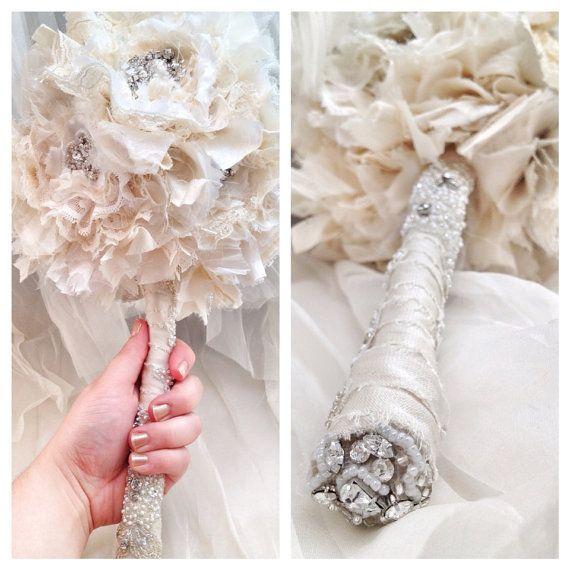 Boho White Ivory Wedding Bouquet Fabric Lace Vintage