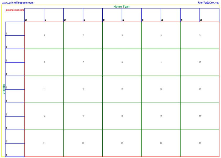 Square Football Pool Template  Printable  Square Football Pool