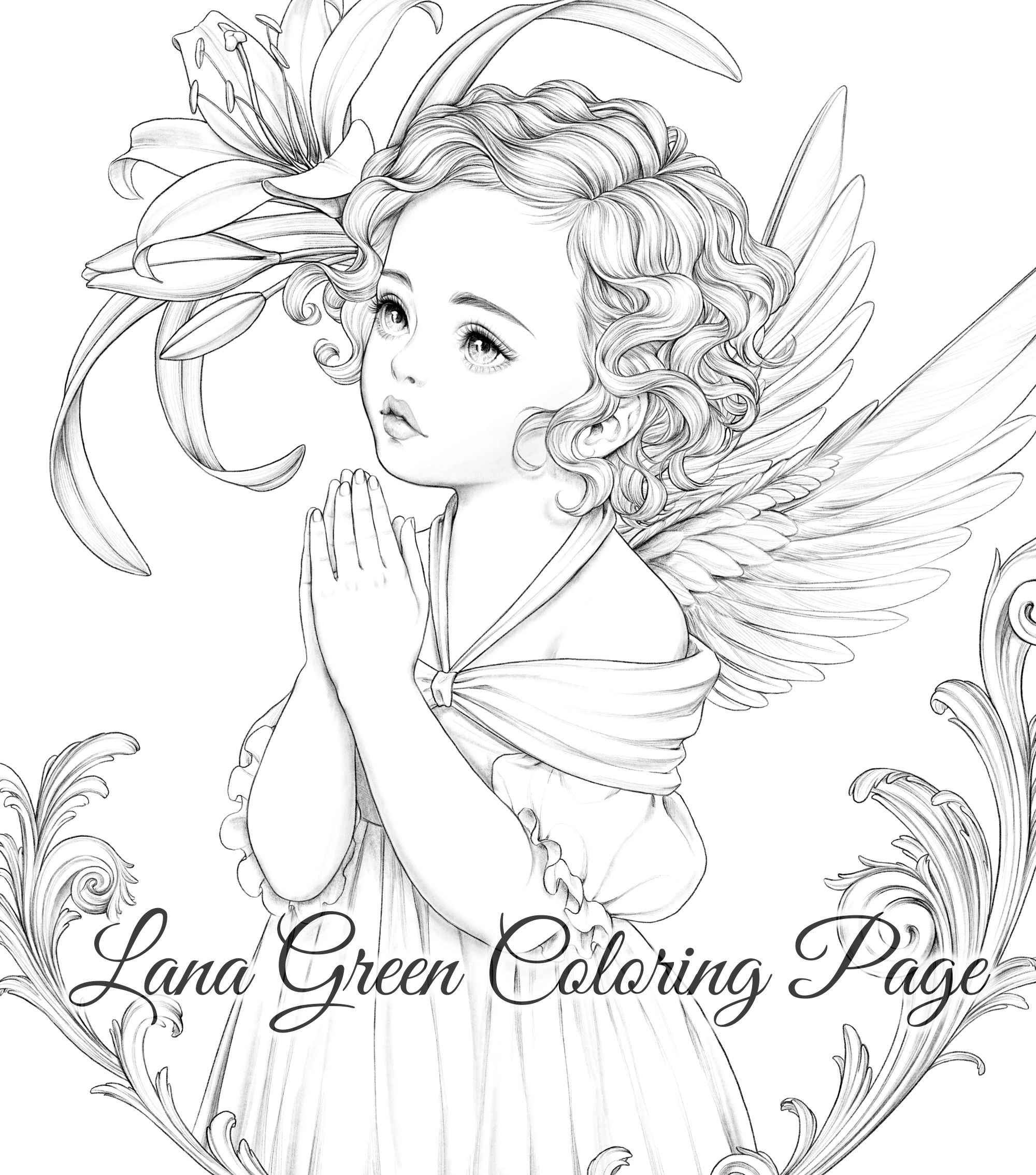 Baby Angel Coloring Page For Adults Grayscale Coloring Etsy In 2021 Angel Coloring Pages Angel Coloring Page Grayscale Coloring