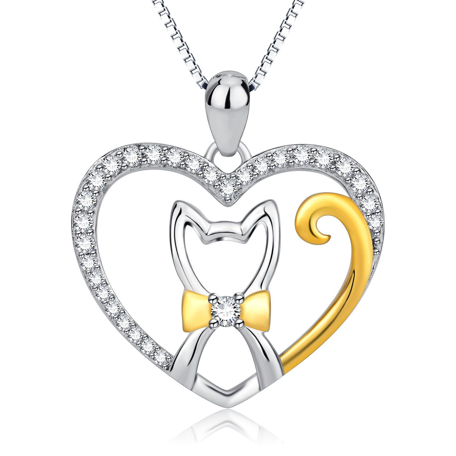 Fashion Jewelry Women Girl Silver Chain Lovely Cat Pendant Necklace Cute Gift