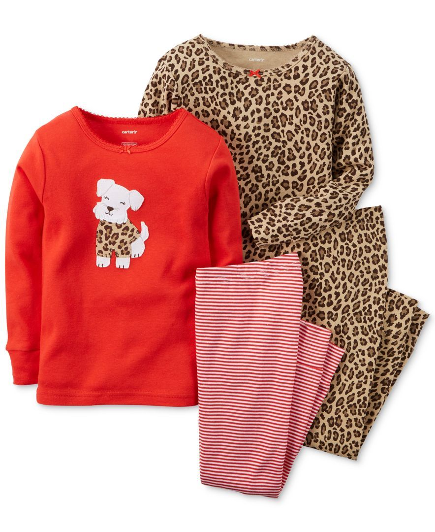 Carter S Baby Girls 4 Piece Puppy Cheetah Print Pajamas Set
