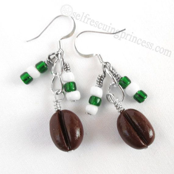 CYBER MONDAY SALE: 25% off with coupon code 12MONDAY. Coffee Bean Earrings by SelfRescuingPrincess on Etsy, $8.00