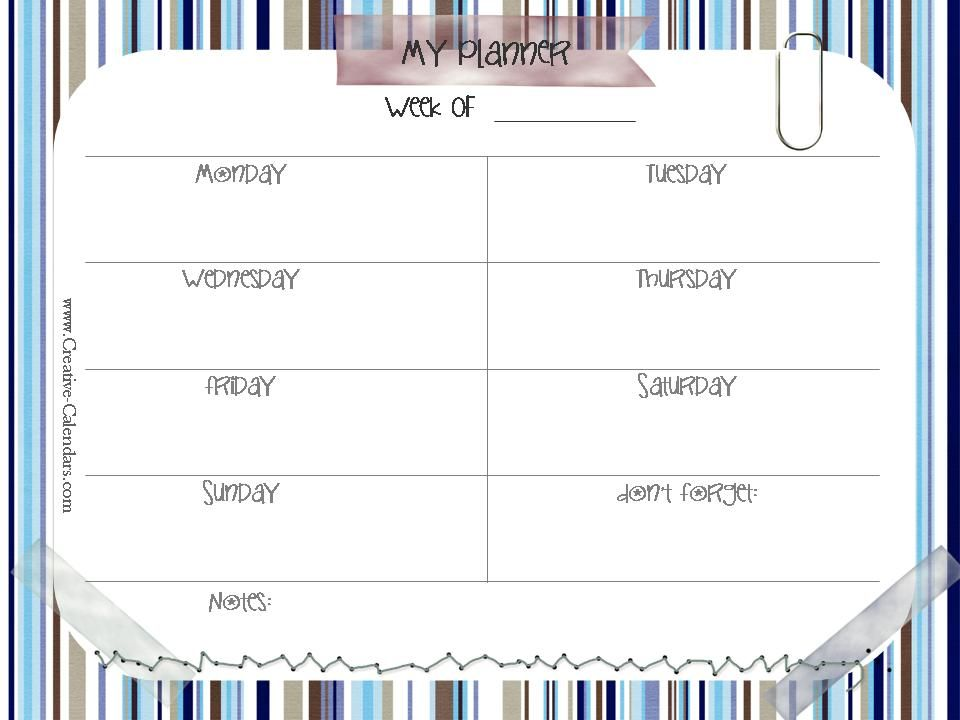 Weekly Schedule  Da Stampare    Weekly Schedule