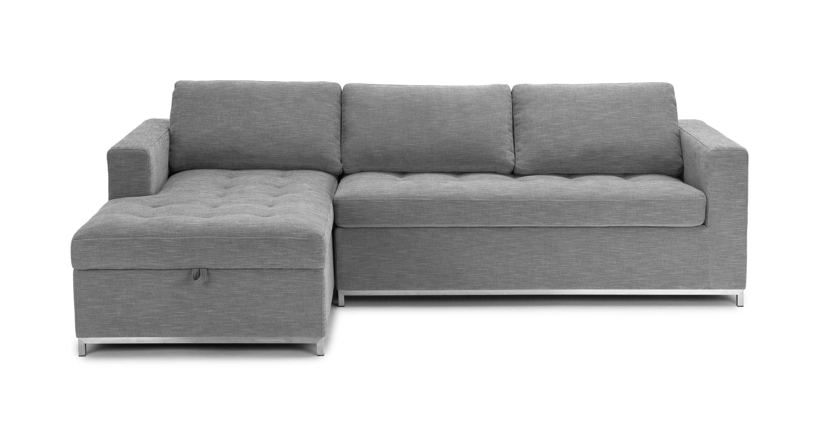 Gray Sofa Bed Left Sectional Metal Legs Article Soma