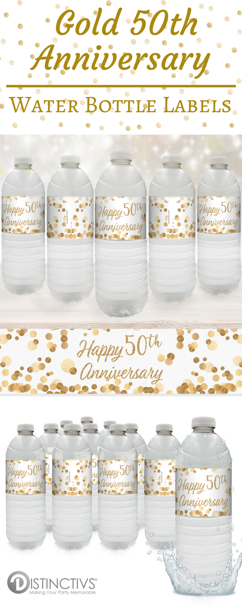 Gold 50th Anniversary Party Water Bottle Labels (Set of 24) | Water ...