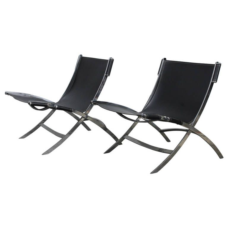 Pair of Mid Century Chrome and Leather Lounge Chairs attr Paul