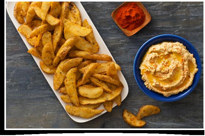 Roasted Garlic Hummus & Savoury Wedges