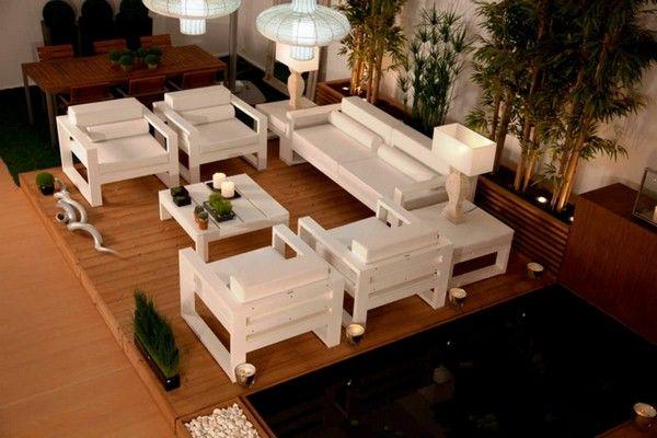 Blanc lounge terrasse meubles de jardin en bambou design moderne ...