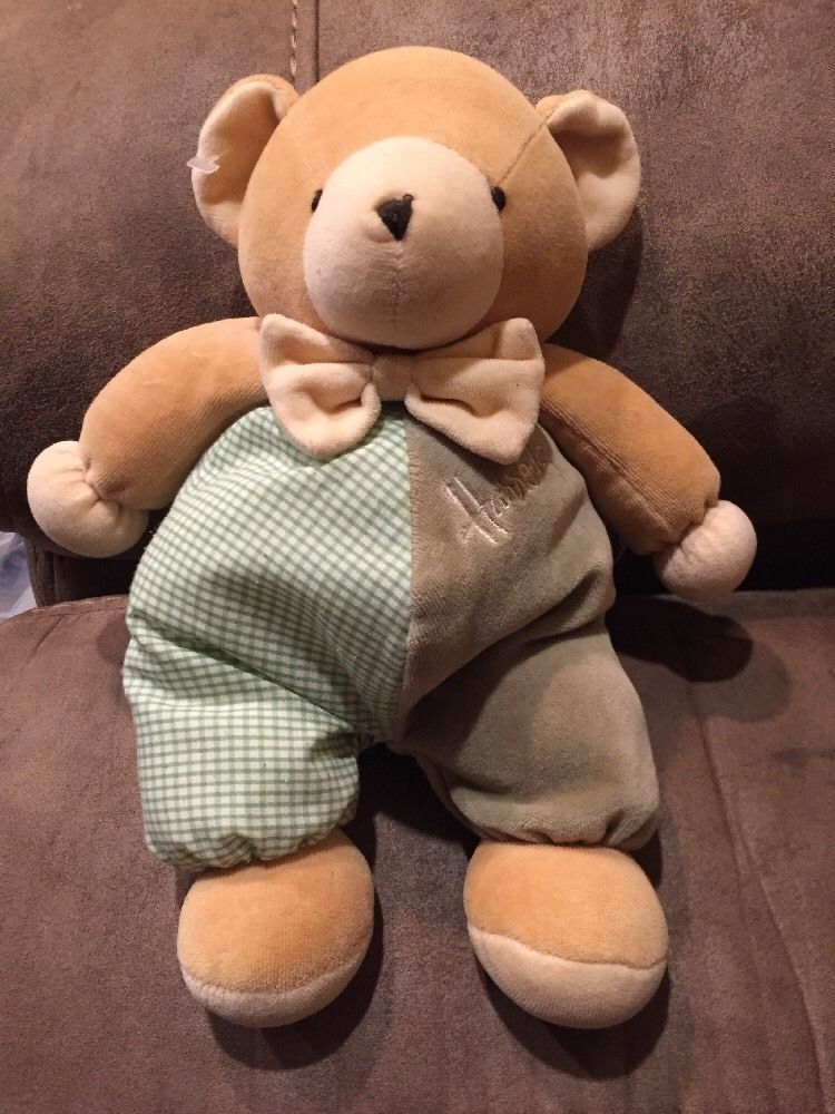 471342230ed78 Harrods Teddy Bear Green Gingham Check Velour Bow Tie Plush Stuffed Animal  8