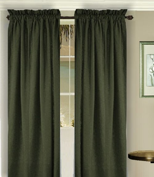 Solid Dark Forrest Green Colored Long Window Curtain Available In