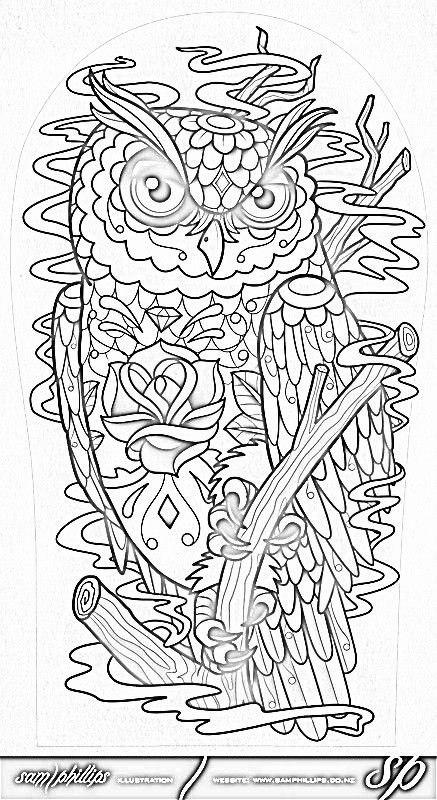 Awesome skull coloring pages for adults background on owls and