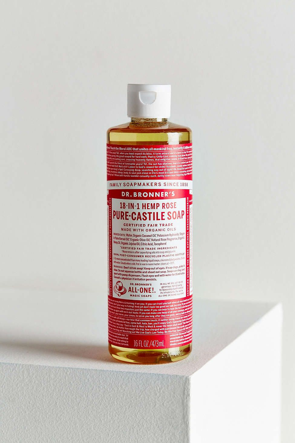 Dr. Bronner's Pure-Castile Large Liquid Soap - ROSE - I use this as body wash and diluted as a soap for the tiled bathroom floor (thanks to Martha Stewart!)