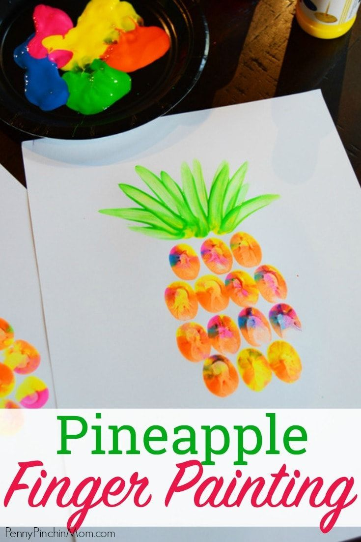 Easy Kids DIY Project:  Pineapple Finger Painting!  This is the perfect craft for toddlers, school crafts, scouting, summer camp and more!  Kids love to get dirty and have fun creating and this simple craft project lets them do just that!  Finger Paint Project | Summer Art Project | Kids Crafts | Easy DIY Home Decor | Easy Art Project | Summer DIY | Kids Summer Craft |   #summercrafts #DIY #painting #kidscrafts