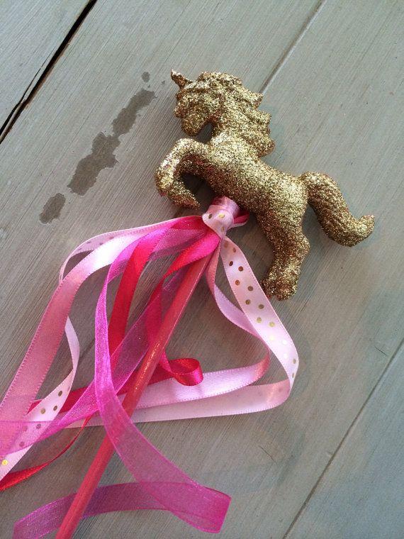 6 Magical Unicorn Ribbon Wands Unicorn Birthday by EllaJaneCrafts