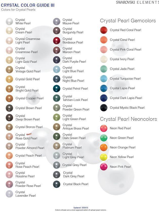 Swarovski Crystal Pearl Colour Chart Pearl Color Crystal Pearls Crystals
