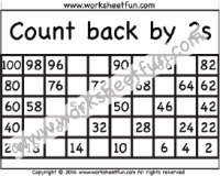 Count back by 2s – Four Worksheets   Printable Worksheets   Pinterest