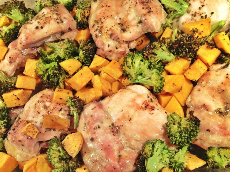 Simple Paleo  Chicken, Broccoli And Sweet Potato In The Oven 375 Degrees For 45 Minutes  Easy -3739