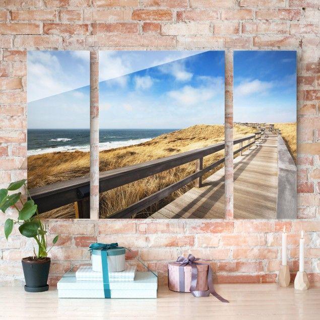 Glasbild #mehrteilig - #Dünenweg an der #Nordsee auf Sylt 3-teilig - glasbilder für küche